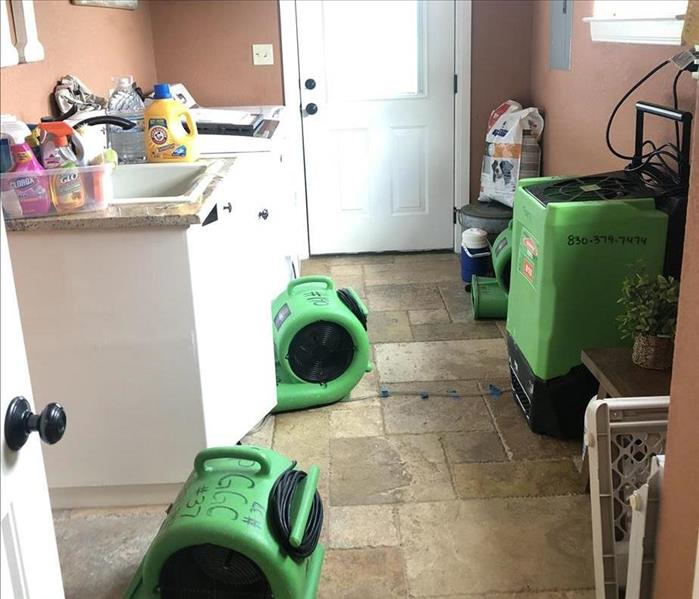 Air Movers in Laundry Room.