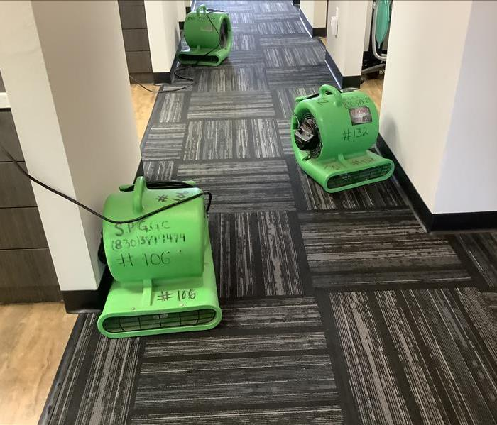 Three airmovers set up in a carpeted hallway