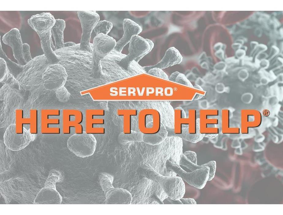 "Coronavirus microscopic image with the words ""Here to Help"" over top"